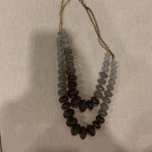 Anthropologie gray crystal necklace